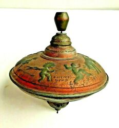 Large Vintage Spinning Top Germany Embossed Figures Witch Kids Donkey Birds