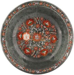 12 Marble Black Fruit Bowl Carnelian Marquetry Floral Art New Year Eve Gifts