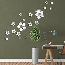3D Flower Sticker Mirror Home Wall Art Acrylic Mural Decal Removable Room Decor