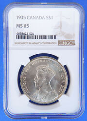 1935 1 Canada Silver Dollar Ms65 Ngc One Dollar Silver Canadian Coin