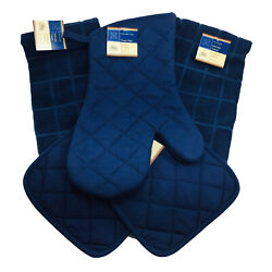 Home Collection Kitchen Set 5 Pieces Solid Navy Blue Oven Mitt Pot Holders Towel
