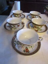 Lot Of 5 Vintage Made In Japan Lithiophane Geisha Tea Cups And Saucers - Deblot
