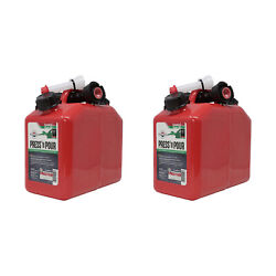 Garage Boss 2 In 1 Press N Pour Metal Gas And Oil Portable Fuel Container 2 Pack