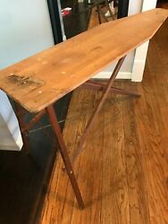 Vtg Antique Wooden Ironing Board Folding Buffet Table Primitive Mid-century 55