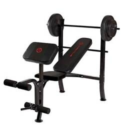 Marcy Pro Home Gym Standard Weight Training Bench With 80 Pound Weight Set