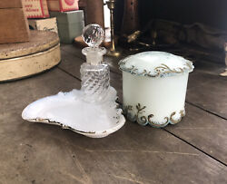 Vanity Set Antique Milk Glass Jar And Trinket Plate And A Perfume Bottle W/stopper