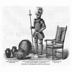 Armour From Coronation Of Queen Anne, King George I And Iii - Antique Print 1856