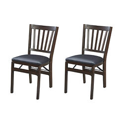 Meco Stakmore Wood Fabric Upholstered Seat Folding Chair Set, Espresso 2 Pack