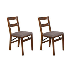 Meco Stakmore Classic Upholstered Seat Folding Chair Set, Fruitwood 2 Pack