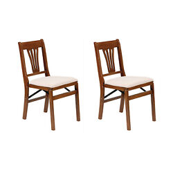 Meco Stakmore Urn Wood Upholstered Seat Folding Chair Set, Fruitwood 2 Pack