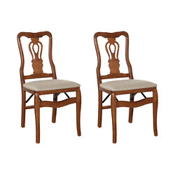 Meco Stakmore Chippendale Upholstered Seat Folding Chair Set, Cherry 2 Pack