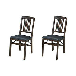 Meco Stakmore Mission Upholstered Seat Folding Chairs, Espresso/black 2 Pack