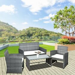 Outside Wicker Deck/patio Lounge Set W/ Loveseat, 2 Chairs, And Coffee Table