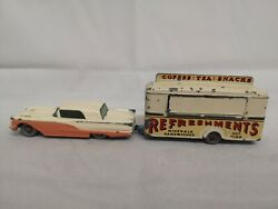 P432-matchbox Lesney No75a Ford Thunderbird And No74a Refreshments Canteen
