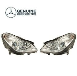 Genuine Pair Set Of Front Headlight Assemblies For Mercedes W219 Cl63 Amg Cls500