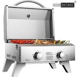 Vivohome Tabletop Stainless Steel 2-burner Gas Grill Bbq Grid With Foldable Legs