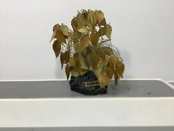 Vintage Dream Tree Kinetic Copper Wire Gold Sequin Leaf Mid Century Hawaii Rock