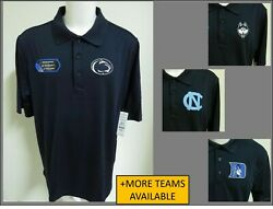 New Sz S-3xl Navy Blue Solid Ncaa Mens Performance Polyester 44c Polo Shirt