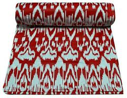 Indian Red Cotton Fabric Ikat Print 10 Yard Handmade Dress Making Voile Cloth
