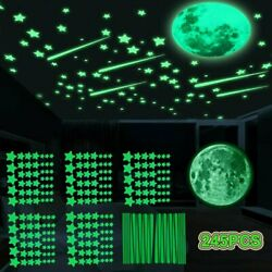 245Pc Glow In The Dark Luminous Stars Moon Wall Stickers Space Kid Ceiling Decal