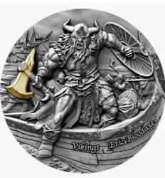 2020 Eric Bloodaxe Vikings 2 Oz Silver Antique Coin Box/coa First Issue In Hand