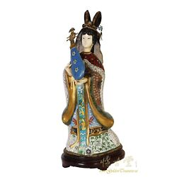 Chinese Antique Cloisonne Beauty Figurine With Musical Instrument