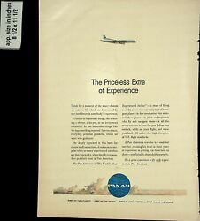 1961 Priceless Extra of Experience Pan Am Airlines Vintage Print Ad 8019