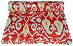 Ikat Print Red Indian Cotton Fabric 10 Yard Handmade Dress Making Voile Cloth