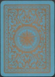 Playing Cards Single Card Old Antique Wide Art Nouveau Gold Star On Blue Design
