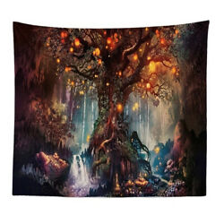 US 3D Psychedelic Tapestry Forest Trees Stars Bedspread Wall Hanging Home Decor