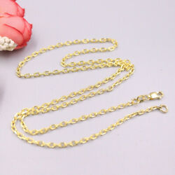 Real 18k Yellow Gold Chain For Women 2.2mm Cable Female's Necklace 20'' 22''l