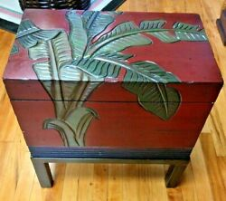 Hand Carved Wooden Chest With Feet Palm Leaf Tropical