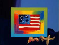 Flag With Heart On Blends Orig Mixed Media Painting Peter Max - Signed