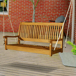 Wooden Swing Bench Garden W/ Supportive Ropes For 2 Person Without Frame