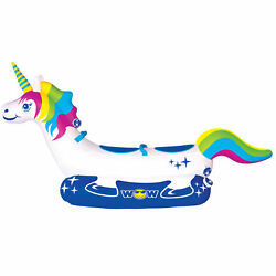 Wow Watersports Rainbow Unicorn 2 Person Inflatable Ride On Lake Towable Tube