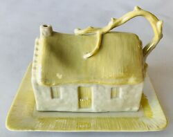 Belleek Country Cottage Butter Or Cheese Covered Plate Ireland Pale Yellow