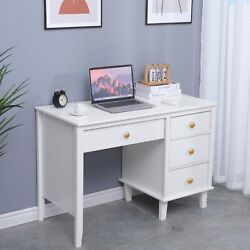 Hard Wood Writing Desk Home Study Office Computer Pc Table W/ Storage 4 Drawers