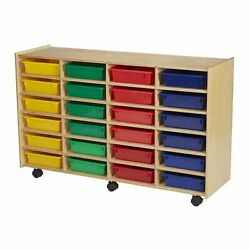 Childcraft Mobile Cubby Unit With Locking Casters 24 Flat Assorted Color Tra...