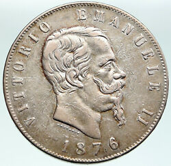 1876 Italy King Victor Emmanuel Ii Old Silver 5 Lire Antique Italian Coin I87559