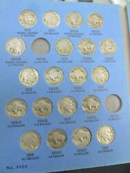 Buffalo Nickel Set In Album 1913-1938 58 Coins Missing 2 Coins Q4aw