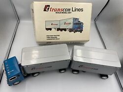 Vintage Transcon Lines Twin Trailer Tin Toy Friction Tractor