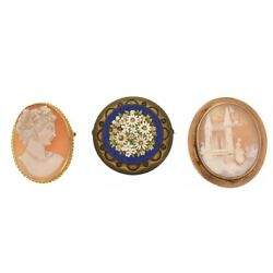 Three Antique Pins Including Two Carved Shell Cameo And Micro-mosaic Brooch