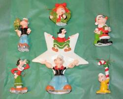 Popeye Lot Of 6 Christmas Decorations Tree Topper 1981 Kfs Olive Wimpy Sweet Pea