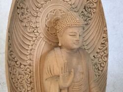 Y2058 Statue Standing Buddha Image Figurine Wood Carving Japanese Antique