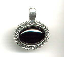 Genuine Onyx Pendant Enhancer For Pearl Necklace W Hinged Clasp Antique Silver