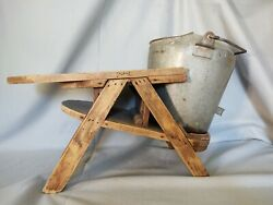 Antique Vintage Wood Milking Stool W Bucket Can