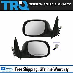 Trq Power Side Mirror Chrome And Black Lh/rh Set For Tundra Double Cab Sequoia