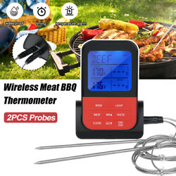 Digital Wireless Remote Meat Thermometer Cooking 2 Probes Oven Bbq Grill Smoker