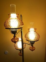 Vintage 60s 70 Beautiful Floor Lamp W/amber Glass Shades 3 Way Switch