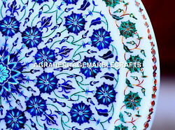 Antique Marble Round Serving Plate Micro Mosaic Lapis Collectible Gift Art H1950